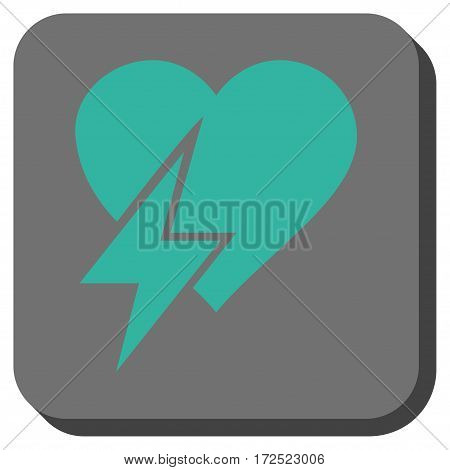 Heart Shock square button. Vector pictograph style is a flat symbol on a rounded square button cyan and gray colors.