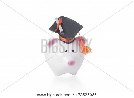 piggy bank and black graduation hat isolated on white background. business finance concept.