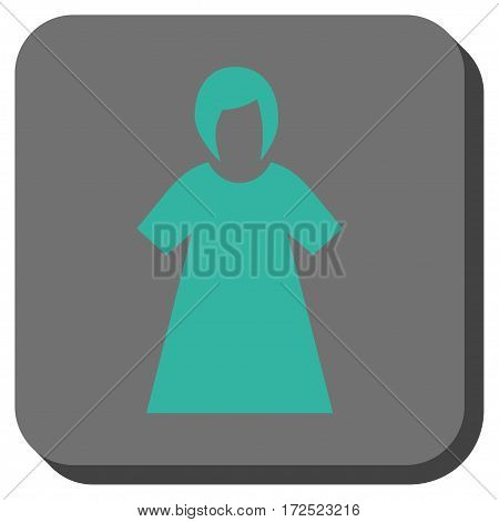 Lady Figure toolbar button. Vector pictogram style is a flat symbol in a rounded square button cyan and gray colors.