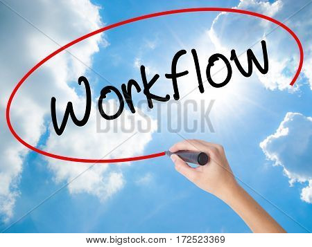 Woman Hand Writing Workflow  With Black Marker On Visual Screen.