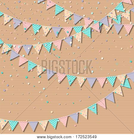 Flag Garland. Ideal Celebration Card With Colorful Paper Flag Garland And Confetti. Party Background
