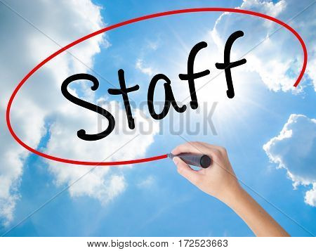 Woman Hand Writing  Staff With Black Marker On Visual Screen