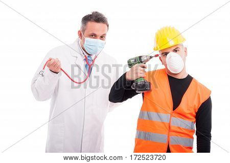 Silly Doctor And Constructor Playing With Their Tools