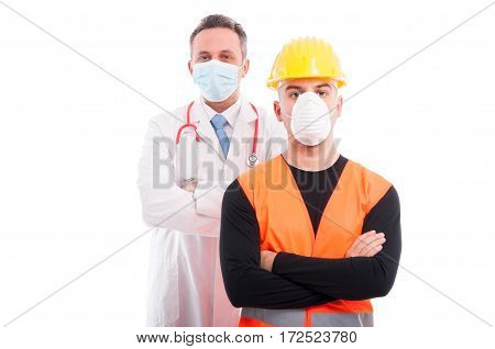 Male Constructor And Doctor Both Standing With Arms Crossed