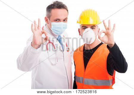 Doctor And Constructor Showing Okay All Right Gesture