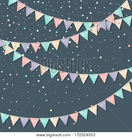 Flag Garland. Radiant Celebration Card With Colorful Paper Flag Garland And Confetti. Party Backgrou