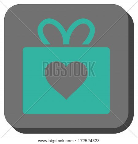 Love Gift interface icon. Vector pictogram style is a flat symbol in a rounded square button cyan and gray colors.