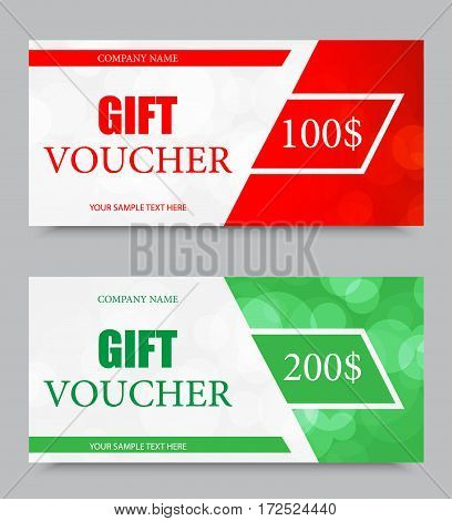 Gift company voucher template on one and two hundred dollars with red and green light pattern. Vector illustration
