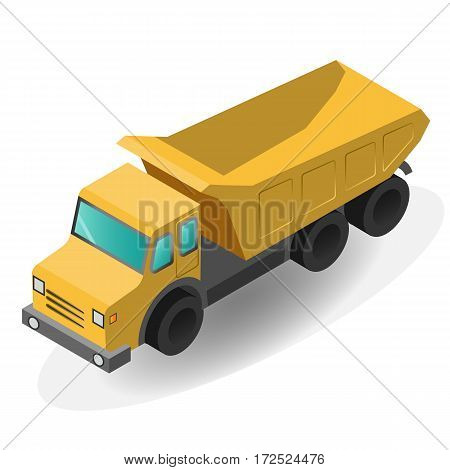 Cargo Truck isolated. Flat 3d isometric high quality icon. Vector file