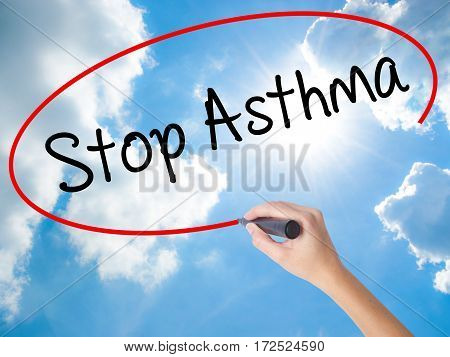 Woman Hand Writing Stop Asthma With Black Marker On Visual Screen