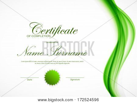 Certificate of completion template with dynamic green wavy smoky soft smooth background and seal. Vector illustration