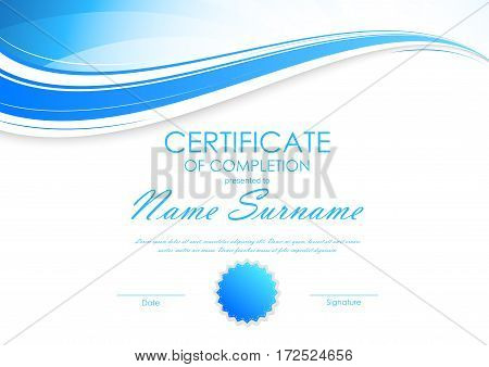 Certificate of completion template with light dynamic blue wavy curved background and seal. Vector illustration