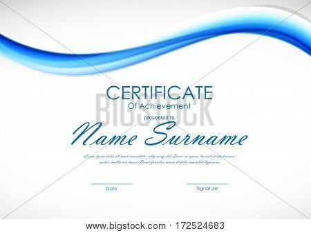 Certificate of achievement template with dynamic blue wavy curved soft smooth background. Vector illustration