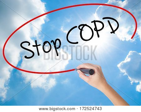 Woman Hand Writing Stop Copd With Black Marker On Visual Screen