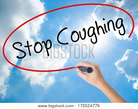 Woman Hand Writing Stop Coughing With Black Marker On Visual Screen