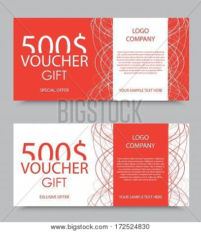 Gift company voucher template on five hundred dollars with light interweaving lines pattern in red and white colors. Vector illustration