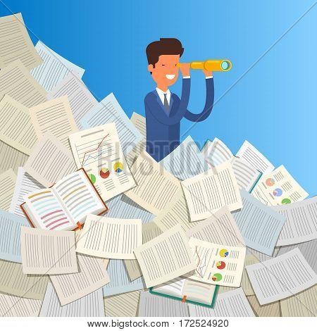 Business leadership and goal concept. Businessman stands in stack of papers looking through spyglass into future. Flat design, vector illustration.