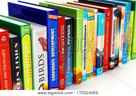 3D render illustration of the macro view of color hardcover books isolated on white background with selective focus effect