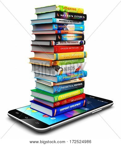 3D render illustration of smartphone or mobile phone and stack or pile of color hardcover books isolated on white background