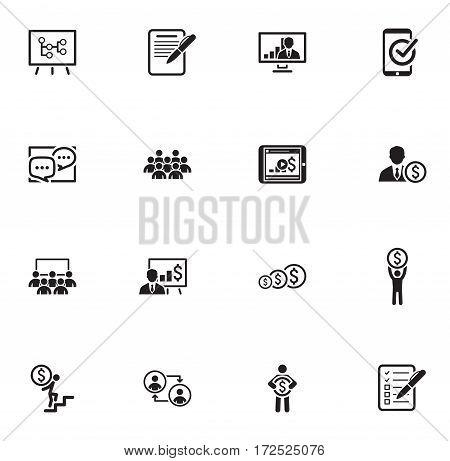 Business Coaching Icon Set. Online Learning. Flat Design. Isolated Illustration.