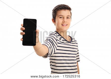Boy showing a phone isolated on white background