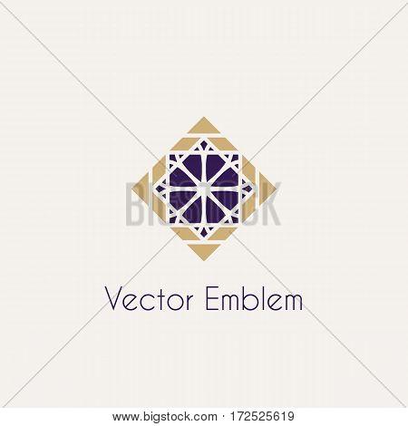 Mosaic arabic ornament. Vector rhomb emblem for luxury logos and retro ornamental design.