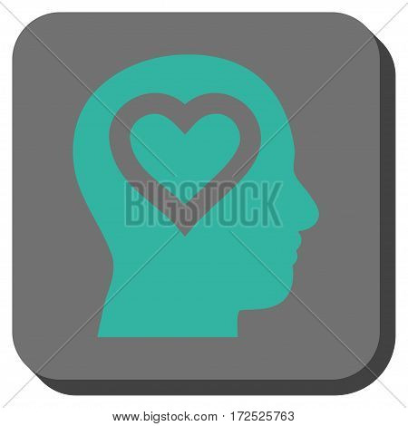 Love In Head interface toolbar icon. Vector pictogram style is a flat symbol inside a rounded square button cyan and gray colors.