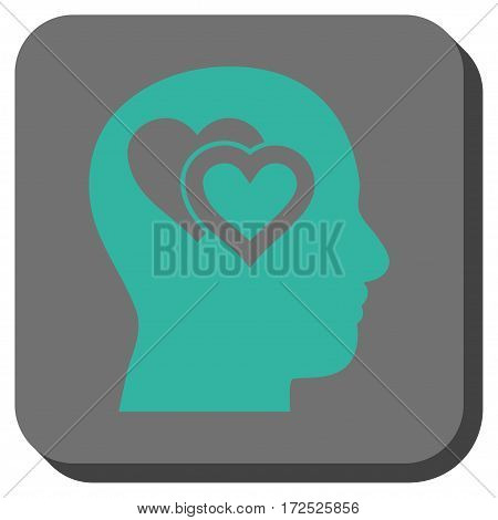 Love In Mind interface toolbar icon. Vector pictograph style is a flat symbol on a rounded square button cyan and gray colors.