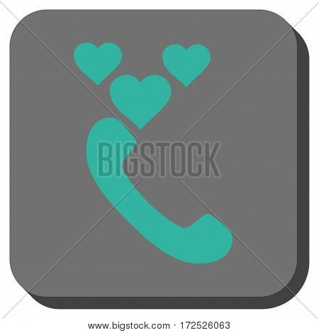 Love Phone Call interface toolbar button. Vector pictogram style is a flat symbol inside a rounded square button cyan and gray colors.
