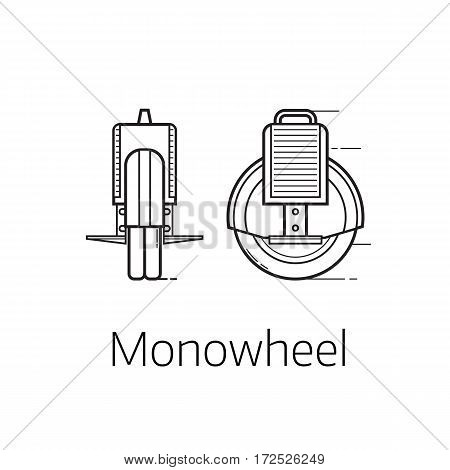 Monowheel vector illustration. Alternative city transport self-balancing wheel in thin line design. Personal transportation gadget. Modern balance electrical vehicle.