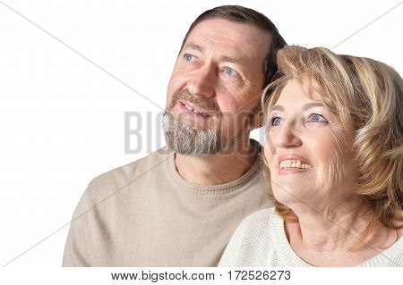 Smiling  couple senior standing on white background