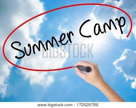 Woman Hand Writing Summer Camp With Black Marker On Visual Screen