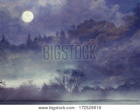 Fantasy forest. Fantasy landscape. Violet, purple image
