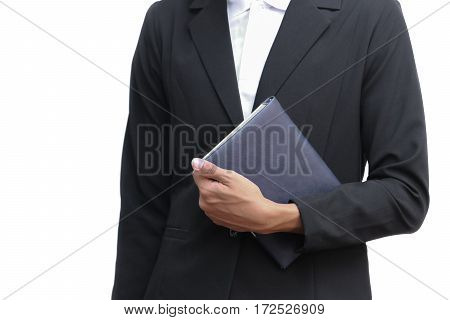 business man holding a book on white background