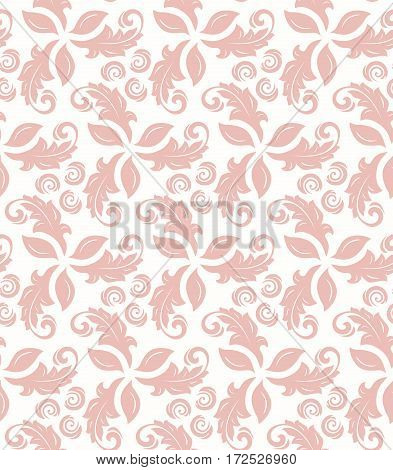 Floral vector pink ornament. Seamless abstract classic background with flowers. Pattern with repeating elements