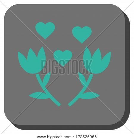 Lovely Tulip Flowers interface icon. Vector pictogram style is a flat symbol centered in a rounded square button cyan and gray colors.