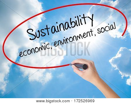 Woman Hand Writing Sustainability  Economic, Environment, Social With Black Marker On Visual Screen
