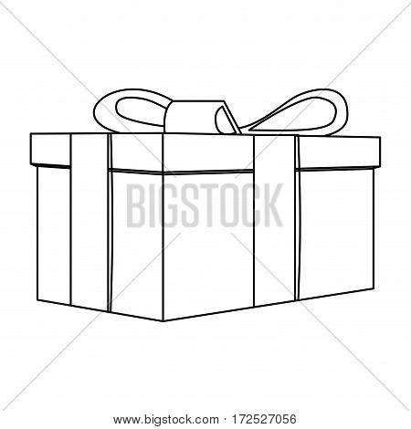 contour gift short boxes icon, vector illustration design