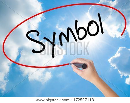 Woman Hand Writing Symbol With Black Marker On Visual Screen