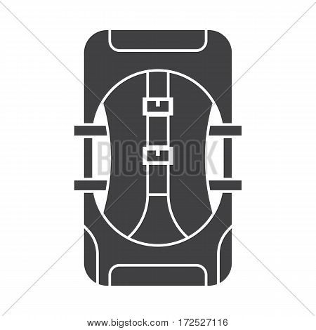 Large hiking backpack in outline design. Tourist rucksack silhouette. Trekking backpack vector icon. Hiking bag in black and white.