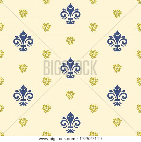 Seamless vector pattern. Modern geometric ornament with royal lilies. Classic vintage background