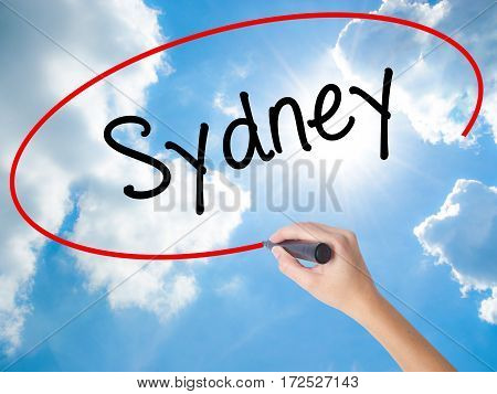 Woman Hand Writing Sydney  With Black Marker On Visual Screen