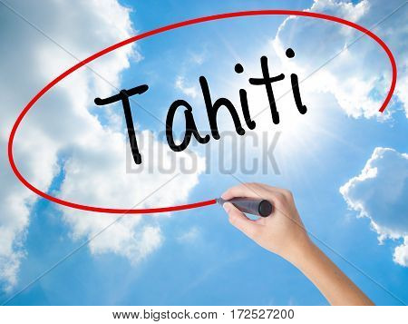 Woman Hand Writing Tahiti With Black Marker On Visual Screen