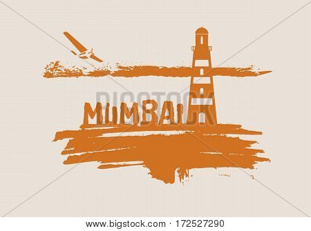 Lighthouse on brush stroke seashore. Clouds line with retro airplane icon. Vector illustration. Mumbai city name text.