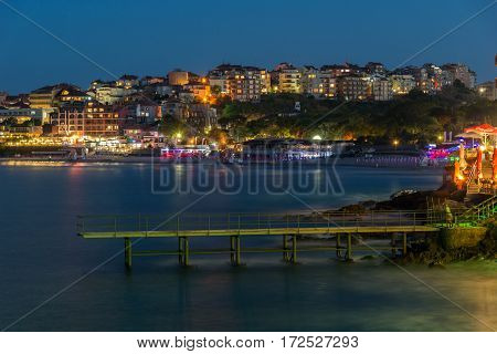 Night photo of old town of Sozopol of Sozopol ancient fortifications, Bulgaria