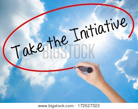 Woman Hand Writing Take The Initiative With Black Marker On Visual Screen