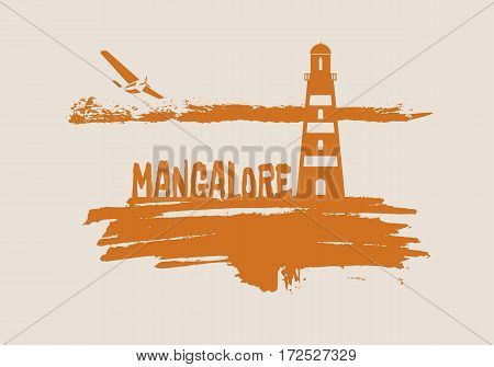 Lighthouse on brush stroke seashore. Clouds line with retro airplane icon. Vector illustration. Mangalore city name text.