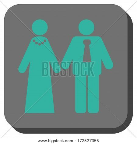 Newlyweds interface icon. Vector pictogram style is a flat symbol inside a rounded square button cyan and gray colors.