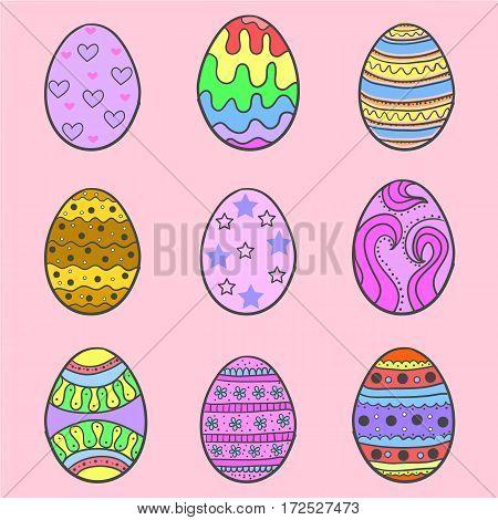 Set of easter egg style doodles vector art