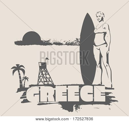Woman posing with surfboard on grunge brush stroke. Monochrome silhouette. Vector illustration. Vintage Surfing Graphic and Emblem. Palm and lifeguard tower on backdrop. Greece text